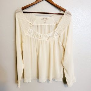 Free People sheer long sleeve lacey top